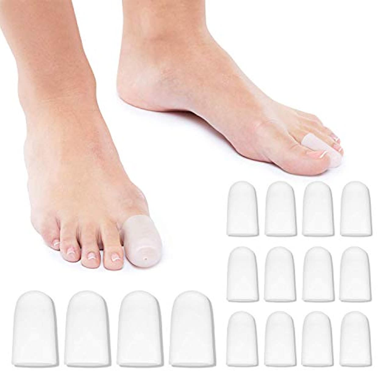 才能スチュアート島毒8ペアセット 足指保護キャップ シリコンキャップ 趾痛み軽減 男女兼用