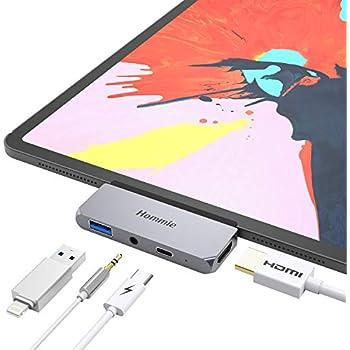 [2018 iPad Pro/Microsoft Surface Go対応USB-Cハブ]Hommie Type-C モバイル ハブ ドッキングステーション USB 3.0 PD 4K HDMI 3.5mm ヘッドホンジャック