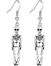 BESTOYARD Halloween Creative Skull Earrings Ear Drop Jewelry for Party 1 Pair (Vintage Silver)