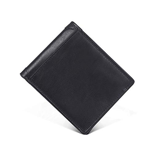 Emostya 財布 二つ折り メンズ 本革 大容量 ボックス型小銭入れ RFIDブロッキング 二つ折り財布 10枚カード収納 黒