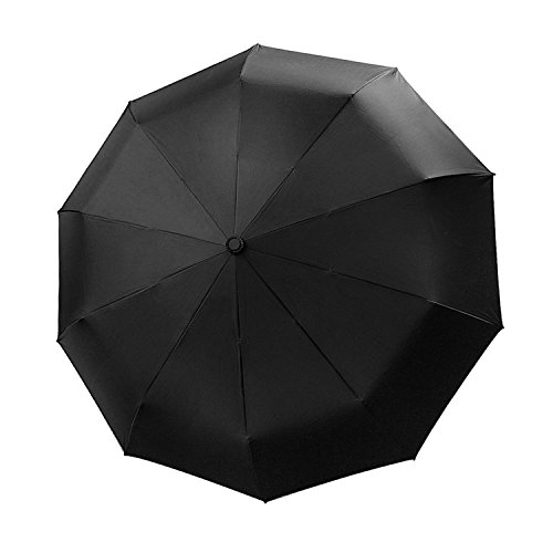CALISH 折り畳み傘 ワンタッチ自動開閉 高強度グラスファイバー 10本骨 耐強風 116cm Teflon撥水加工 晴雨兼用 超吸水マイクロファイバー折りたたみ傘カバー付き (ブラック)