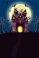Qinunipoto 背景布 ハロウィン happy halloween 写真の背景 背景幕 丸い月 夜 こうもり 枯れ木 小道 写真背景 人物撮影 撮影用 cosplay背景 恐ろしい背景 ハロウィン様式 写真ブース撮影 ビニール 1.8x2.5m