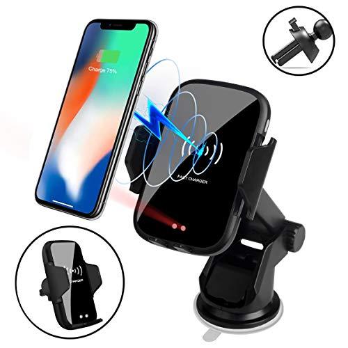(2019年最新進化版)車載 ホルダー ワイヤレス充電器 車載Qi 充電器車載 スマホホルダー LEDライト 赤外線センサーによる自動開閉 エアコン吹き出し口&吸盤式両用 取り付け簡単 360度回転可能 片手操作 iPhone X/XR/XS/XSMAX/8/8 Plus/Galaxy S9/S8/S8 Plus/S7/S7 Edge/S6/S6 Edge/Note 8/Note 5/Nexus 等に多機種対応(ブラック) 日本語取扱説明書