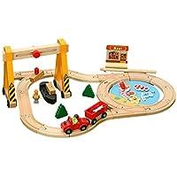 yasushoji 木のおもちゃ 車 木製 遊び 磁石つき セット 知育玩具 指先訓練 トレーニング 汽車 乗物 (港湾セット)