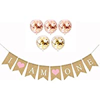 I Am One Banner Burlap & 5 Pcs Confetti Balloons set Sign for Baby Girl First Birthday Party Decorations - 1st Birthday -Rustic Bunting with Pink Hearts