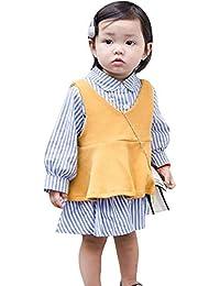 子供服セット(帽子含まない) カットソー タンクトップ シャツスカート 女の子 キッズ 長袖 りんご襟 丸首 73-110