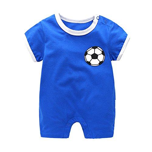 9526d60a8551f エルフ ベビー(Fairy Baby) サッカー ユニフォーム ベビーロンパース 半袖 ブルー 66  丈夫でお肌に優しいコットン素材なので、夏の場合で重宝します!