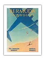 5時間でバミューダ - パン・アメリカン航空(PAA) - インペリアル航空 - ビンテージな航空会社のポスター によって作成された ポール・ジョージ・ローラー c.1937 -プレミアム290gsmジークレーアートプリント - 46cm x 61cm