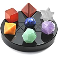 CrystalTears 7つ星 グループ クォーツ クリスタル プラトニック ソリッド 神聖な幾何学セット Merkaba スター像 フィギュア アレー オブシディアンスタンドセット 瞑想 レイキ ヒーリング バランス