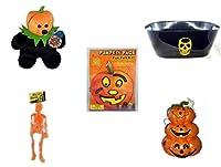 "Halloween Funギフトバンドル[ 5Piece ]–Jacko The HalloweenビーニーBear Limited Edition Collectible 7""–ブラックスケルトンオーバルパーティータブ–Darice Pumpkin Face Funフェルトキット–Stitches–Hanging Skel"