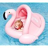Sunworld(サンワールド) 浮き輪 フロート ベビー 赤ちゃん 子供用 足入れ 日焼け予防 取り外し可能な屋根付き フロート プール 海 夏のインフレータブル玩具 1-3歳 フラミンゴ