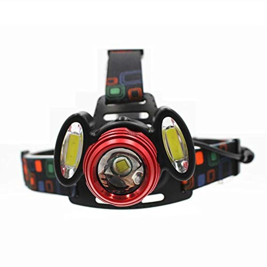 高度脅威同行新しい1 * T6&2 * COB LEDミドルレッドグレア3ランプヘッドランプスーパーブライトヘッドトーチ、屋外キャンプ用防水ヘッドライトヘッドライト釣り狩猟ハイキングランニングウォーキングサイクリング