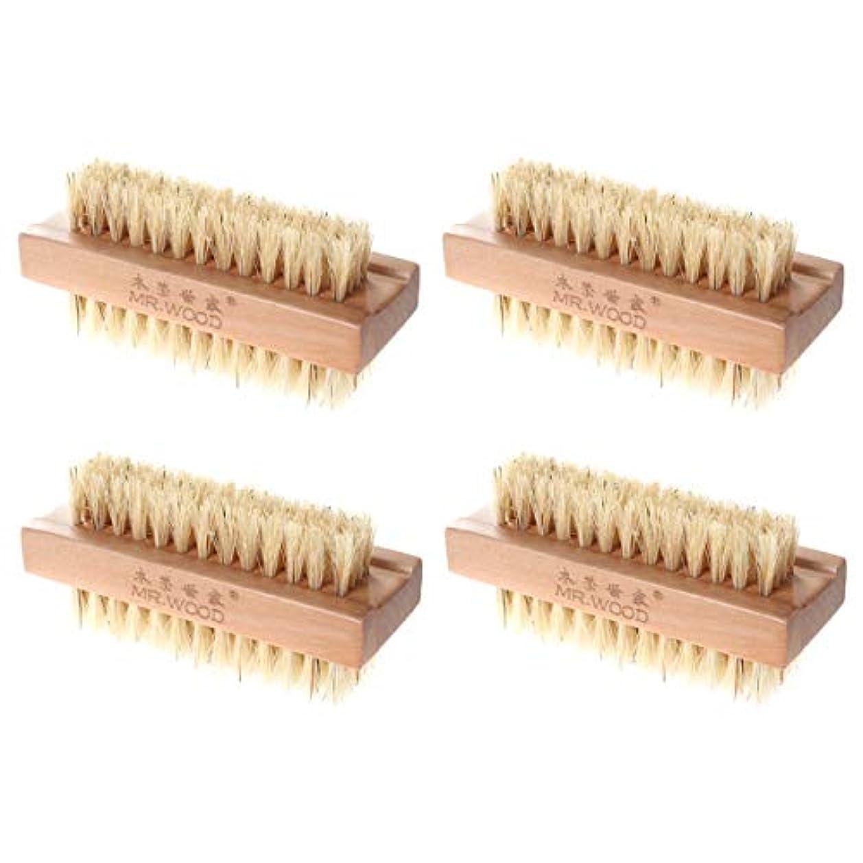 想像するバースレンズHealifty ネイルブラシバスブラシ木製ブラシ4本