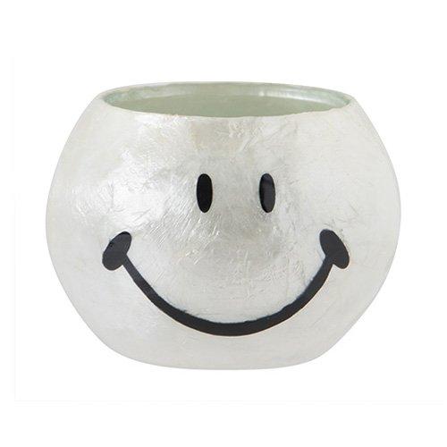 [해외]ROUND GLASS PLANTER SMILEY FACE [화이트 | M 사이즈 | 화분 만/ROUND GLASS PLANTER SMILEY FACE [White | M size | planter only]
