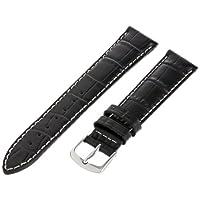 Hadley-Roma Men's MSM834RA-180 18-mm Black Genuine Italian Calfskin Leather Watch Strap