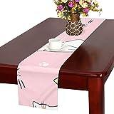 GGSXD テーブルランナー 面白い ピンク猫 クロス 食卓カバー 麻綿製 欧米 おしゃれ 16 Inch X 72 Inch (40cm X 182cm) キッチン ダイニング ホーム デコレーション モダン リビング 洗える