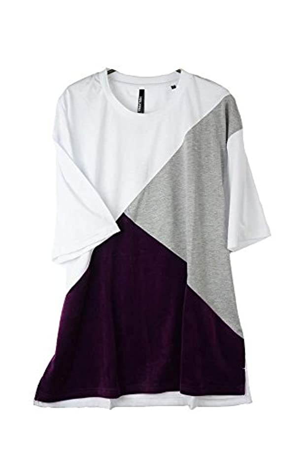 是正する母性飛行場半袖Tシャツ メンズトップス ベロア切替Tシャツ クルーネック メンズ ゆったりめサイズ R300521-06