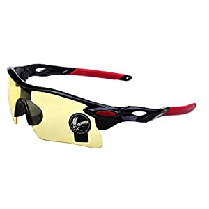 Alen(アレン)割れないサングラス スポーツサングラス スポーツ ランニング ゴルフ 野球 テニス 釣り 登山 自転車 ロードバイク サイクリング サバゲー UV400 防風 軽量30g イエロー