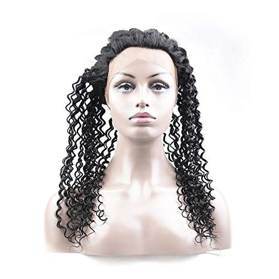 起こるカーペットシリンダーHOHYLLYA ブラジルのディープウェーブ人間の髪の毛360レース前頭かつら12インチ未処理のバージンヘアウィッグナチュラルカラーロールプレイングかつら女性のかつら (色 : 黒, サイズ : 20 inch)