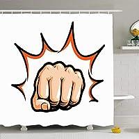 シャワーカーテンセットフック付き66x72表現ハンドアッパーカット拳バトル武術パンチ打撃コミックポップ人々乱闘記号シンボル防水ポリエステルファブリックバスルーム用バス装飾 180X180 CM