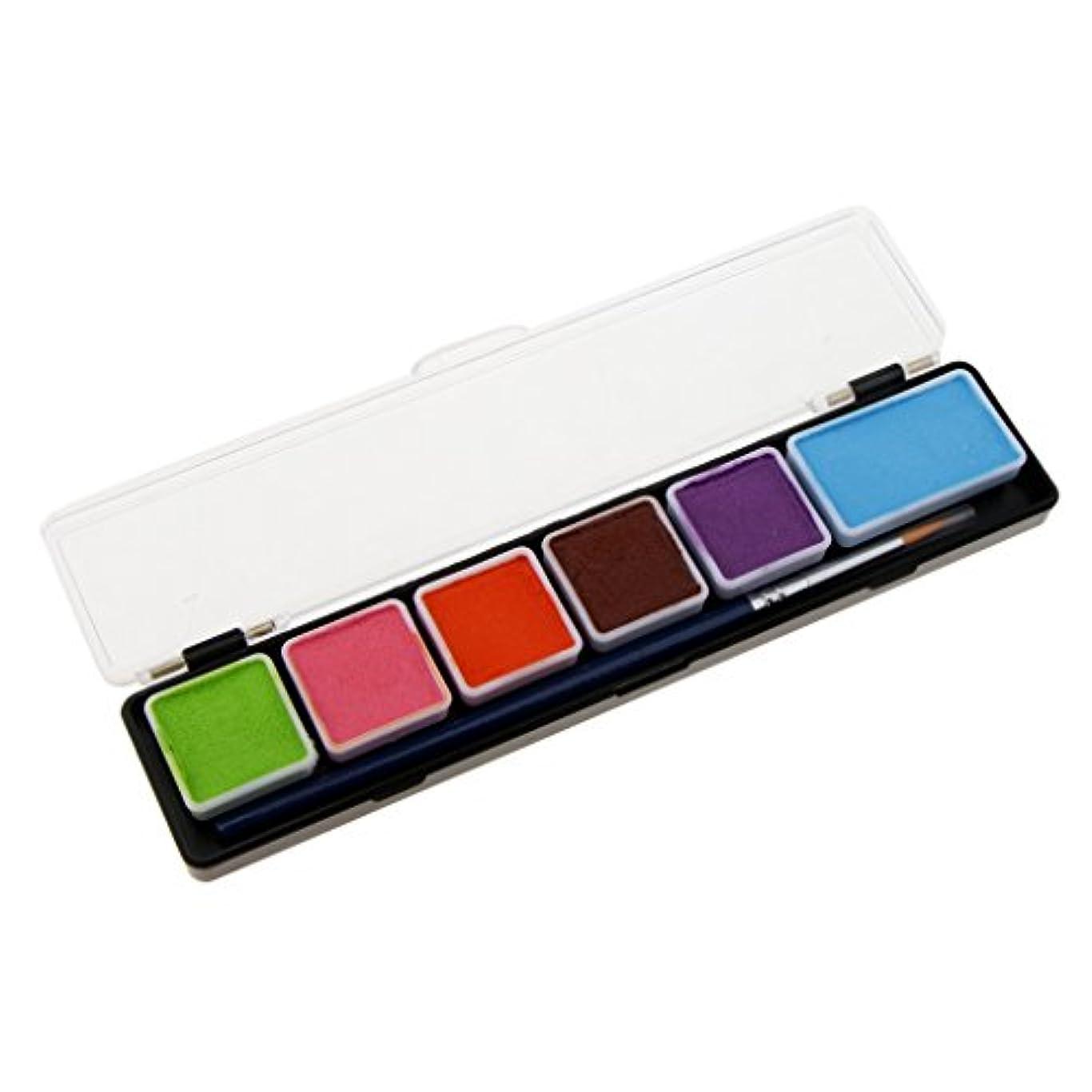 誰もさておき質素なフェイスペイント 6色入り ボディペイント アートメイク コスプレ クリスマス ハロウィン仮装変装用 - RT005B