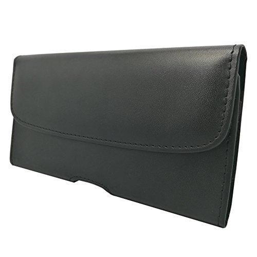 ケース 横型 ウエストポーチ ( ベルトクリップ 式 ) 外形 160 X 85 mm【Q-Beau】Iphoneケースカバー スタイリッシュなスマートフォン財布品質の革PU合成材料、5.5インチ 黒い
