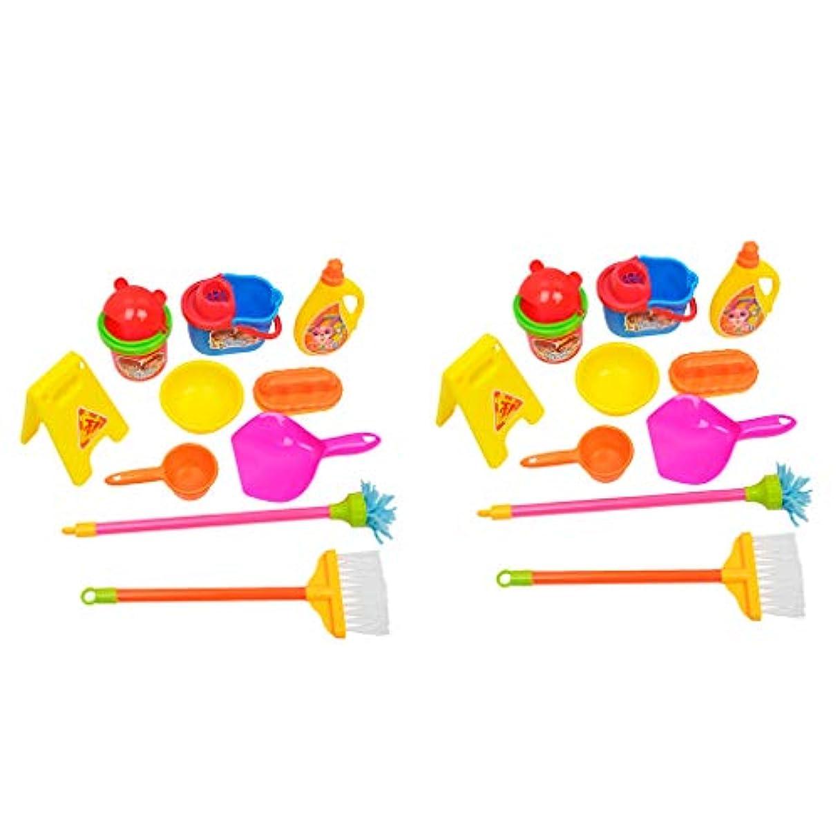 感度として等価20個 子供 ロールプレイおもちゃ クリーニングツール クリーナートイ バケツ ダストパン ブラシ