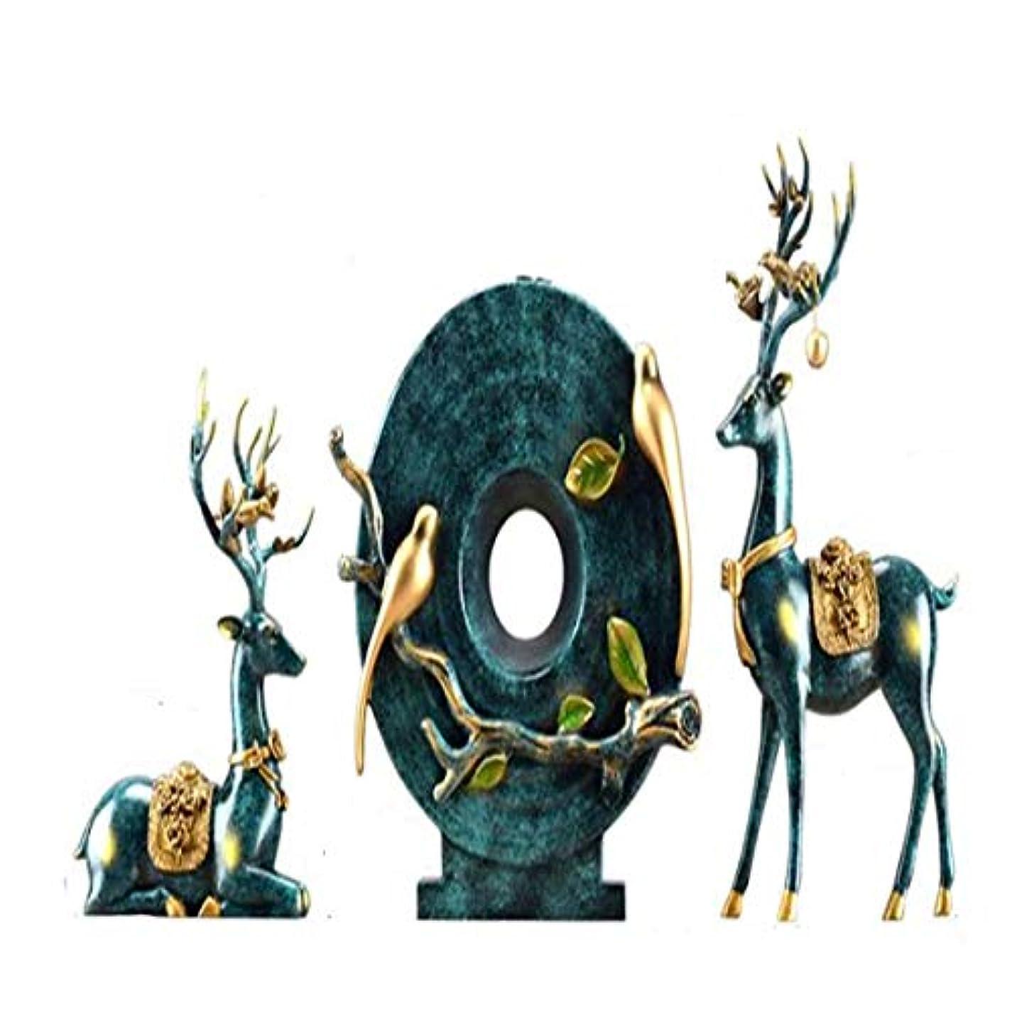 セーブできる古風なFengshangshanghang クリエイティブアメリカン鹿の装飾品花瓶リビングルーム新しい家の結婚式のギフトワインキャビネットテレビキャビネットホームソフト装飾家具,家の装飾 (Color : A)