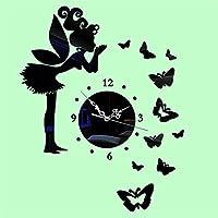 龙飞@ DIYアクリル壁時計居間寝室レストランオフィス壁ステッカーミラー壁時計 ( 色 : ブラック )