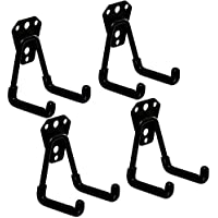 (Small Hook) - ROOS Wall Hung Double Hook Bicycle Storage Hook Garage Space Saver Hanger Rack Pack of 4(Small Hook)