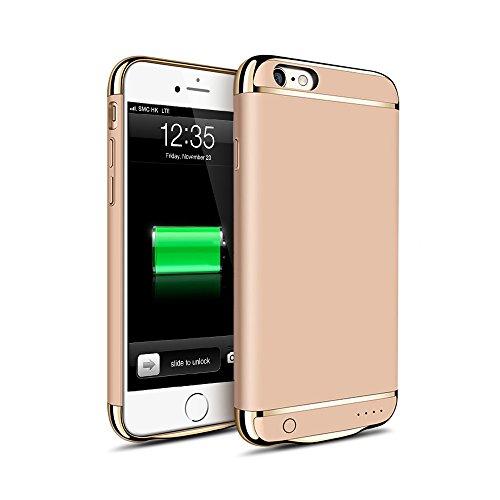 KYOKA iPhone6 iPhone6s バッテリー内蔵ケース 3パーツ式 軽量 超薄 バッテリーケース 大容量 急速充電 ケース型バッテリー (iPhone6/6s, ゴールド)