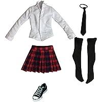 Dovewill 1/6スケール 学生 ユニフォーム 制服  シャツ スカート  キャンバス靴  セット   12 インチ 女性アクションフィギュアボディ適用  全9色 - レッド+ブラック