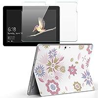 Surface go 専用スキンシール ガラスフィルム セット サーフェス go カバー ケース フィルム ステッカー アクセサリー 保護 フラワー 花 ピンク フラワー 004325