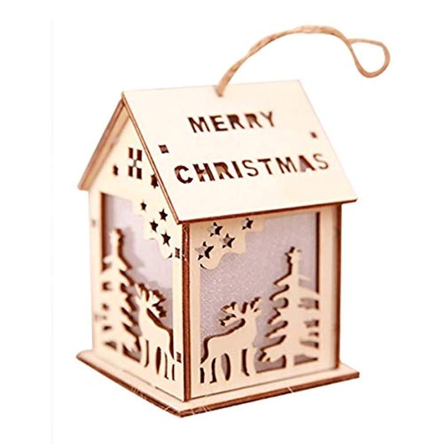 カスタムずらすウイルス輝くクリスマスキャビンサンタクロースクリスマス鹿ペンダントクリスマスツリーパーティーのための木製の家のペンダントホームDecorationElkS-木製の小さなエルク