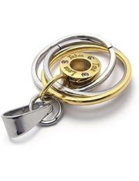 [テメゴ ジュエリー]TEMEGO Jewelry メンズステンレススチールペンダントヴィンテージラウンドネックレス、ゴールデンシルバーサークル[インポート]
