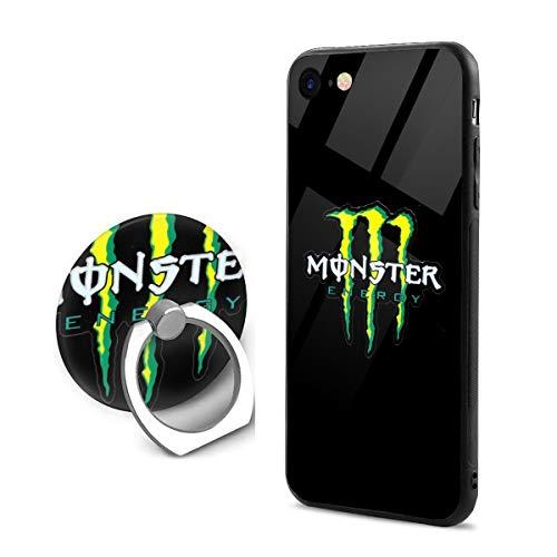 Monster Energy モンスターエナジー IPhone7 8 スマホケース TPUバンパー+背面ガラス レンズ保護 Iphoneケース リング付き ワイヤレス充電対応 滑り防止 黄変防止 すり傷防止 超軽量高耐久アイフォン7/8 スマホケース