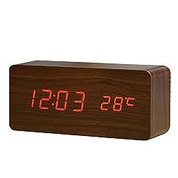 FiBiSonic デジタル 置き時計 LED 目覚し時計 大音量 アラーム カレンダー付 温度湿度表示 音声感知 USB給電 木目調 ナチュラル風 おしゃれ プレゼント