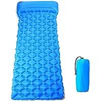 anhpi Inflatable Sleepingマットパッドと枕とユニークなバックルデザイン軽量折りたたみキャンプエアマットレスと互換性ハンモックとテントSleeping Bag forアウトドアバックハイキング ブルー 12348