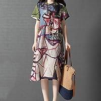 Akane ワンピース 綺麗 おしゃれ 人気 可愛い 抽象的 不規則 ステッチ 夏 半袖 ゆったり 韓国風 爽やか カジュアル 女性 レディーズ 日常 自宅 ドレス (2色) M-XXL 1266