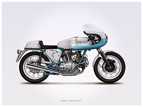 Ducati 750ss (supersport) Motorcycle Illustration Poster Print 18x24 Horizontal by GarageProject101 [並行輸入品]