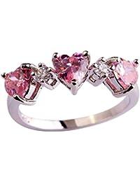 メイデイ 925スターリングシルバー ?グリーントパーズ製 ハート型 3石指輪 リング (色 : ピンク, サイズ : 16)