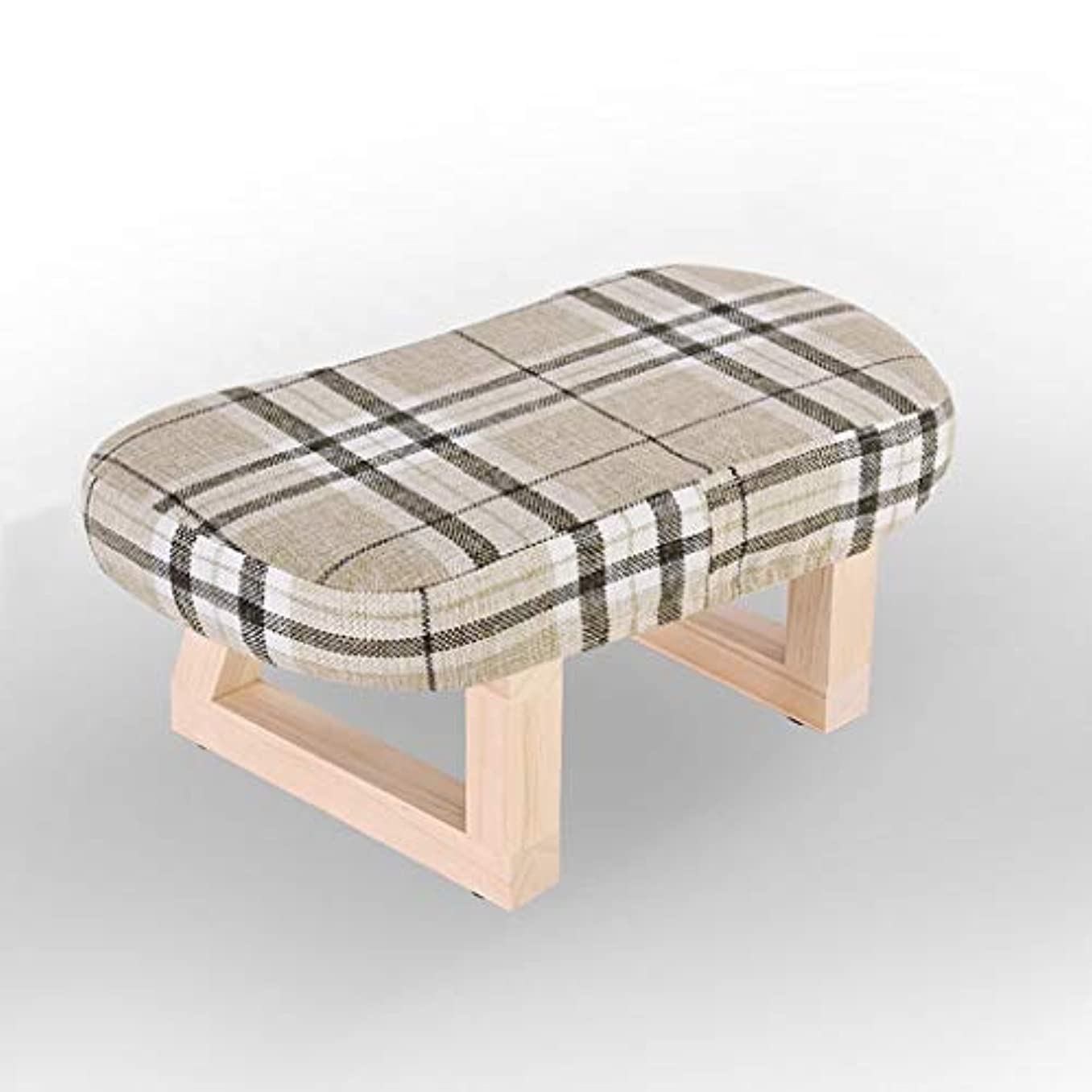 腐った常習的XJLXX リビングルーム木製スツールホームウェアシューズ小さなベンチ寝室の生地ソファスツール ソファースツール (Color : Multi-colored)