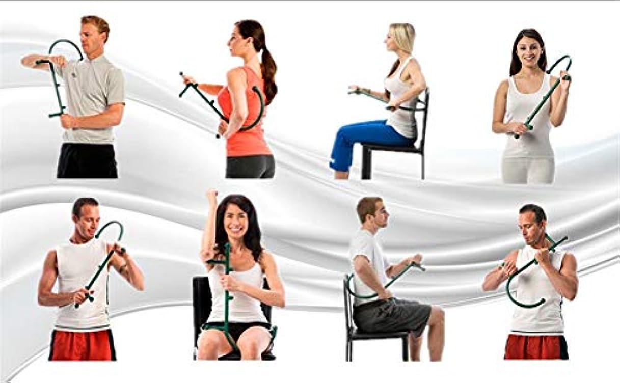 下線持参放置背中の首の痛み筋肉筋肉筋膜リリースのためのトリガーポイントリリーフマッサージC字型の深い筋肉ハンドマッサージャー-ダークブルー