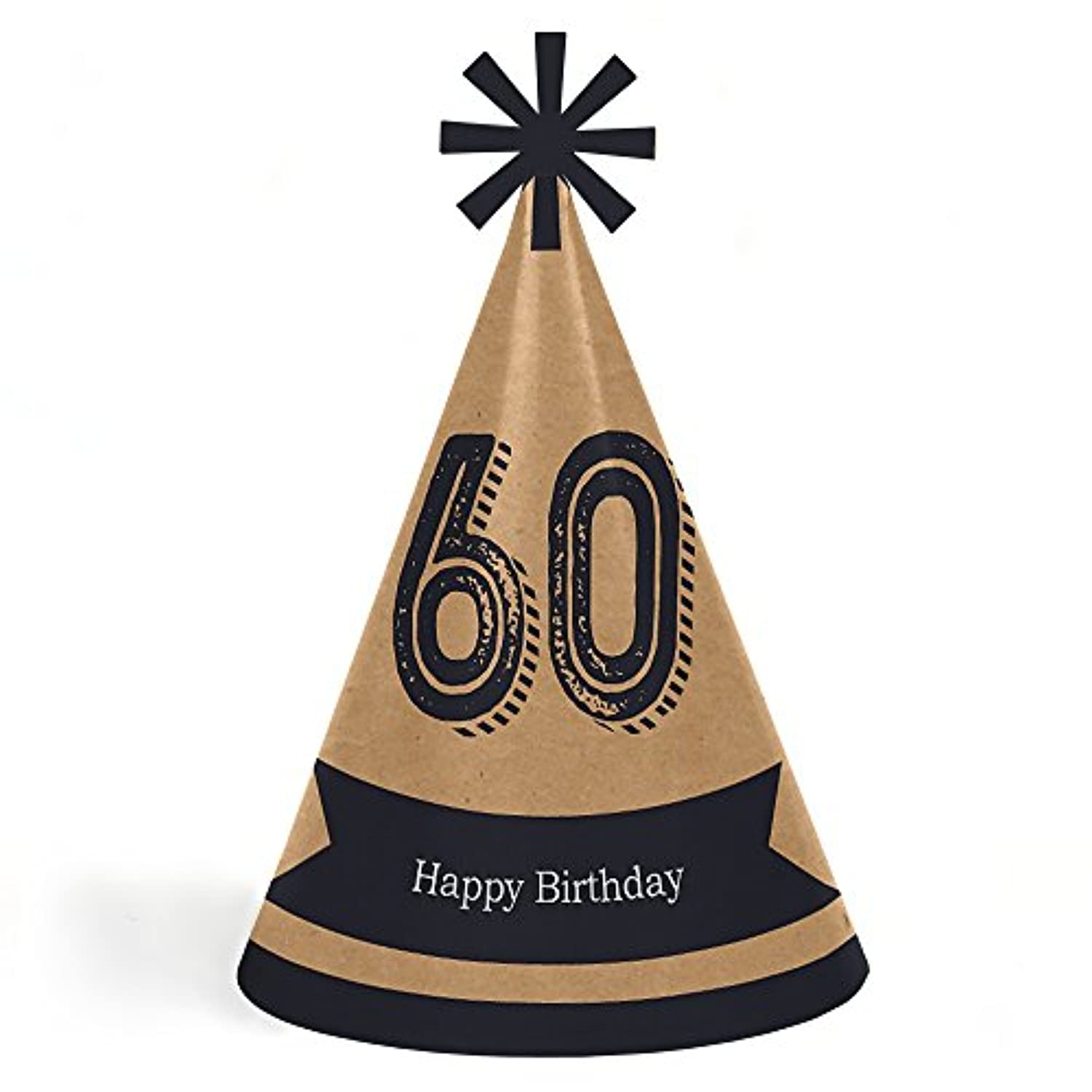 60thマイルストーン誕生日 – Dashingly Aged to Perfection – 円錐Happy Birthday Party Hats for Kidsと大人のセット – 8 (標準サイズ)