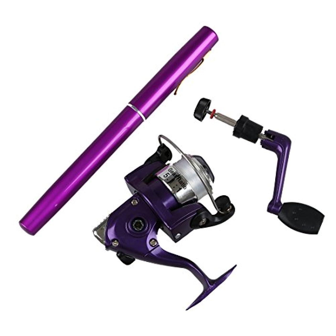 海外でミュウミュウ調整可能TOOGOO ソルトウォーターフィッシングタックル ペン形状ロッドポール&リールコンボ(紫)