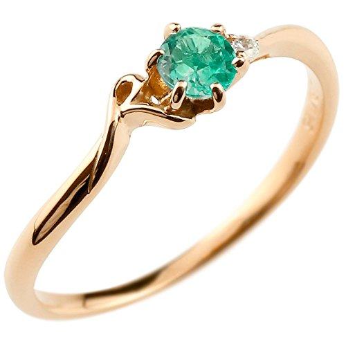 [アトラス] Atrus イニシャル R リング エメラルド 5月誕生石 アルファベット ピンクゴールド 18金 指輪 ダイヤモンド 1-18号