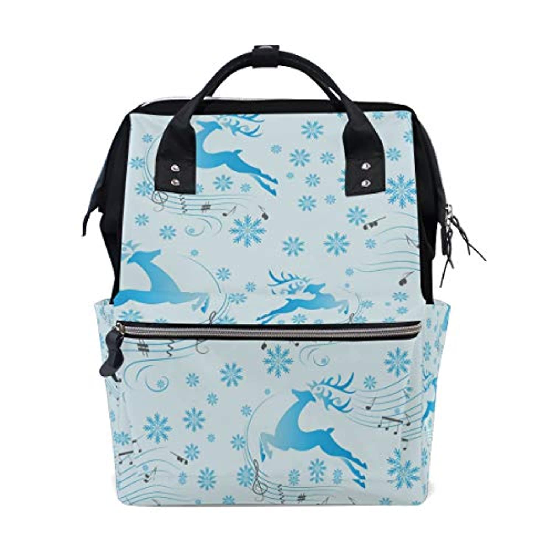 ママバッグ マザーズバッグ リュックサック ハンドバッグ 旅行用 可愛い 鹿柄 音符 青 ファション