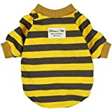 Fitwarm Striped Pet Clothes for Dog T-Shirts Pullover Cat Shirts Cotton Yellow XXL