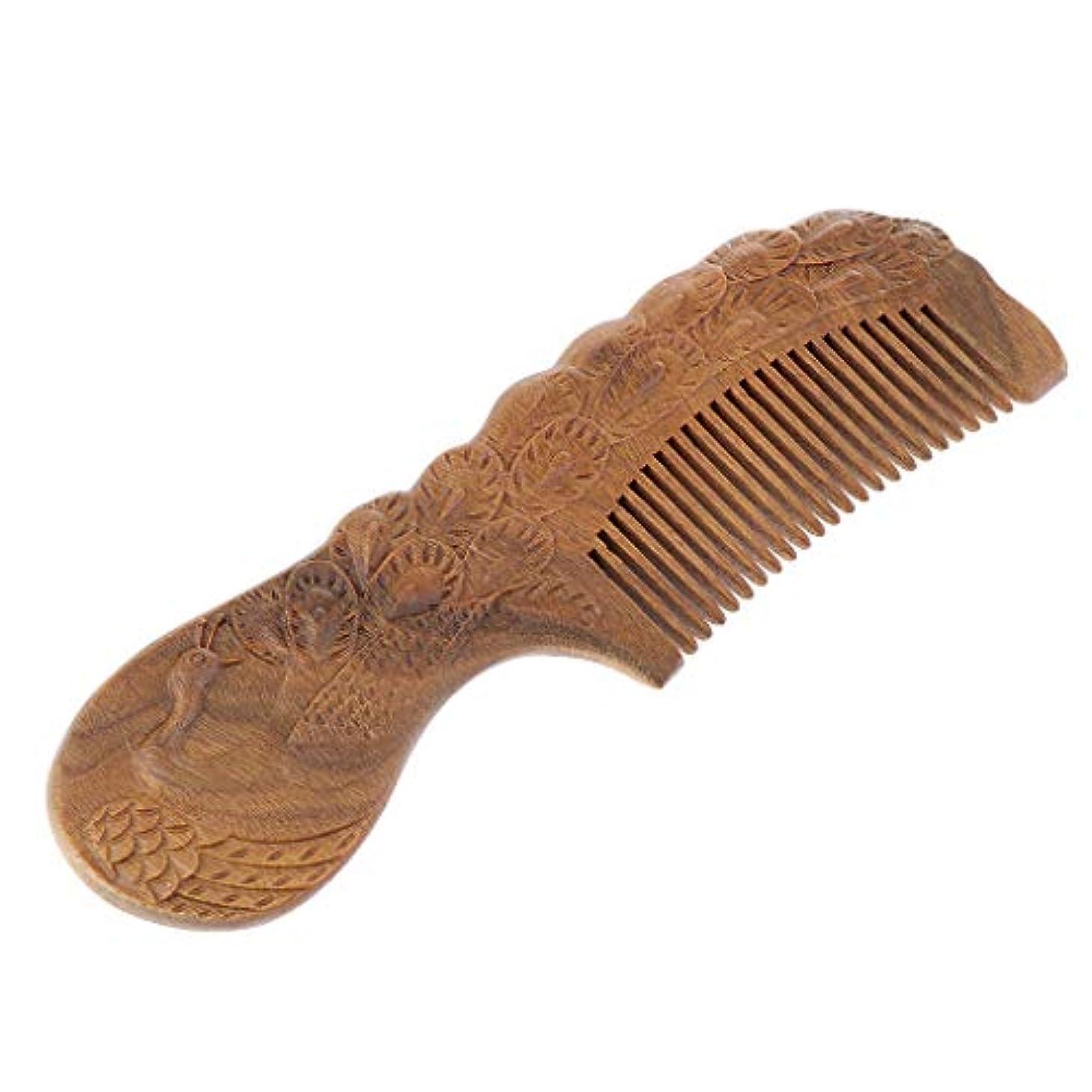 興奮する霊ヘクタールアンティークグリーンサンダルウッドワイド歯ブラシヘアスタイリングデタングリングコムズ - 17×5.7×1.2cm