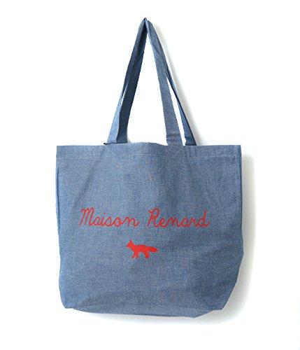 MAISON KITSUNE [ メゾンキツネ ] / TOTE BAG MAISON RENARD (トートバッグ ショッピングバッグ) フリーサイズ シャンブレー